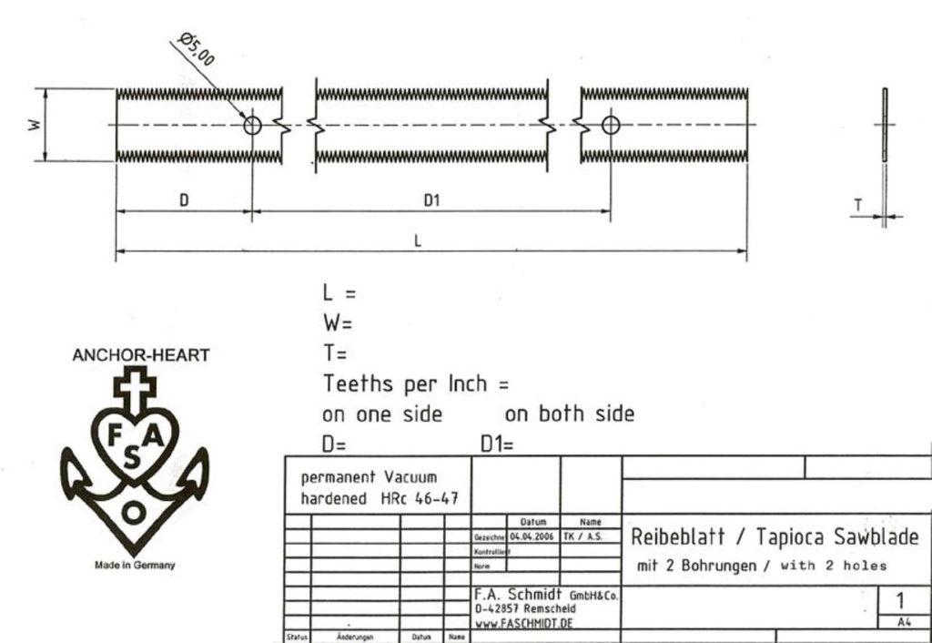Drawing sawblade with holes
